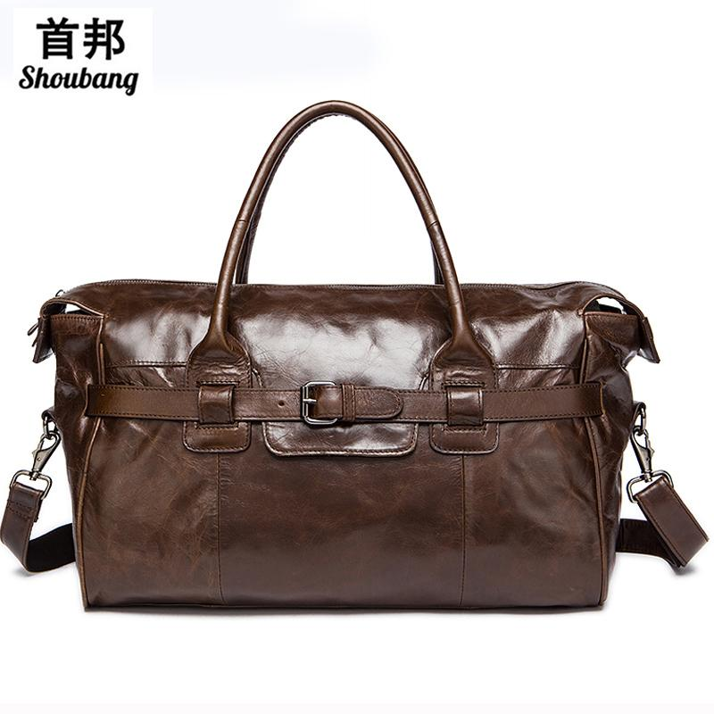 b1d2152bcc53 Genuine Leather Duffle Bag Men S Multi Purse Travel Bag Luggage Duffle Bags  Leather Handbags Suitcase Men Travel Bags Overnight Bags Briefcases For Men  From ...