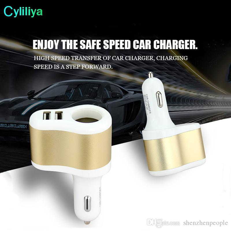 Dual USB Car Charger with Cigarette Lighter for Cellphone MP3 Best Quality Car Adapter multi color in stock
