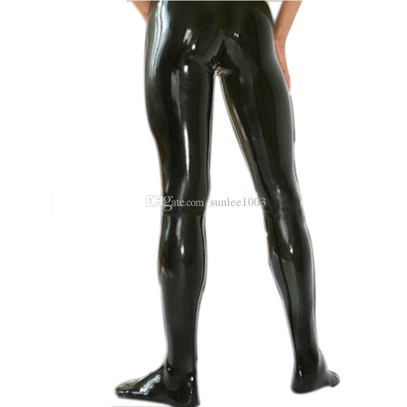 Latex Rubber Man Legging socks Latex Fetish Trousers Sexy Pants tights connect socks For Men without zipper Customization Handmade