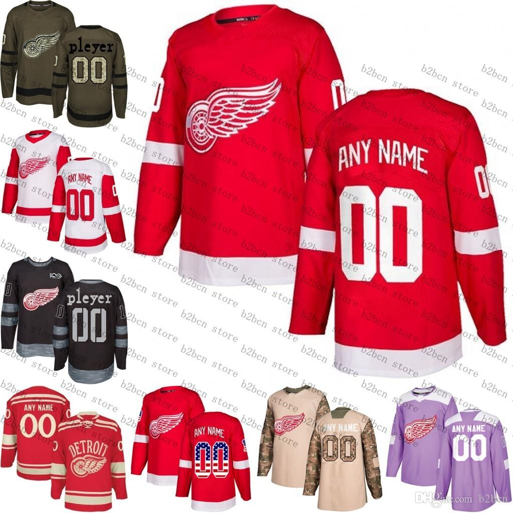 af0245c27 2018 Custom Detroit Red Wings Jerseys Authentic Personalized Hockey ...