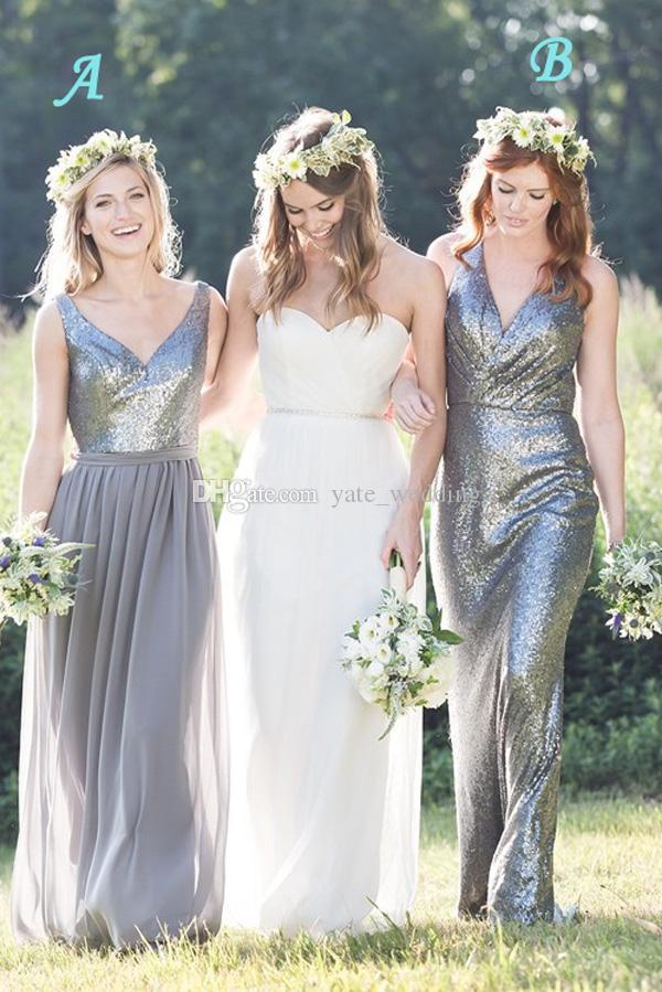 Halter Tulle Floor Length Bridesmaid Dresses Pleated Sequins Gray Wedding Party Dress V Neck Chiffon Long Bridesmaid Gowns