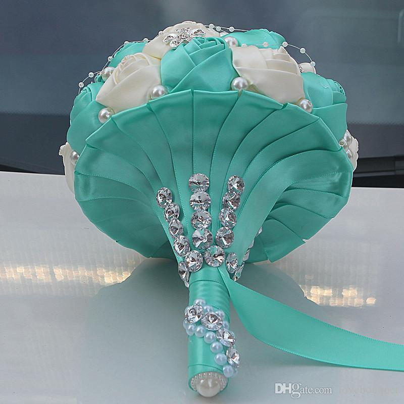 18CM Handmade Mixed Colors Bride Holding Flowers Diamond Pearl Wedding Bouquet Silk Rose Artificial Bouquets for Wedding