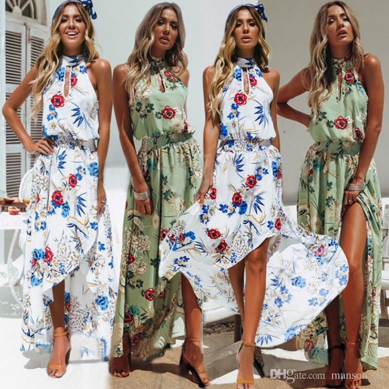 20018b85b1a Women Summer Boho Long Maxi Party Beach Dress Evening Floral Dresses Ladies  Womens Print Flower Sundress Holiday Long Slip Beach Dress S XXL Casual  Purple ...