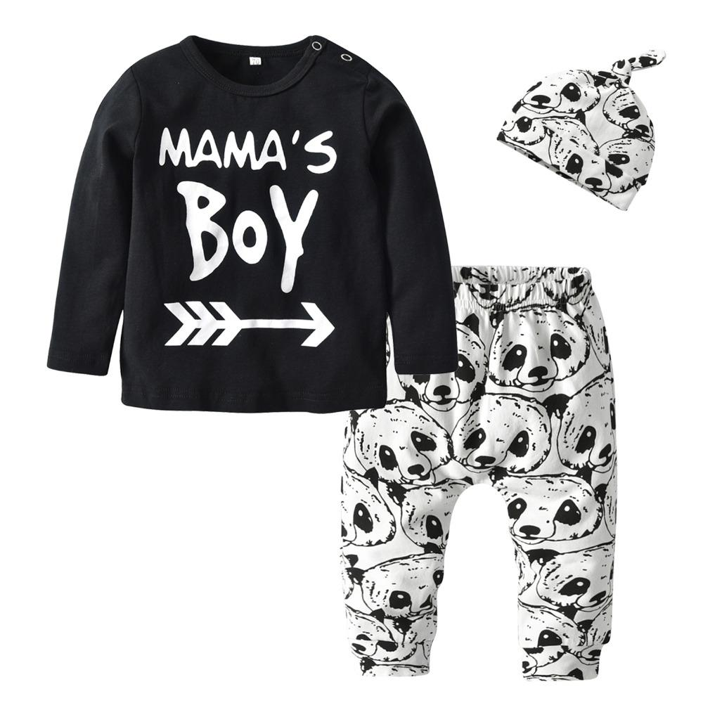 2d521938c0c4e 3Pcs Newborn Baby Boy Clothes Outfits Set Cotton Long Sleeve Mama's Boy T- shirt Tops Cartoon Panda Pants and Hat Infant Clothing