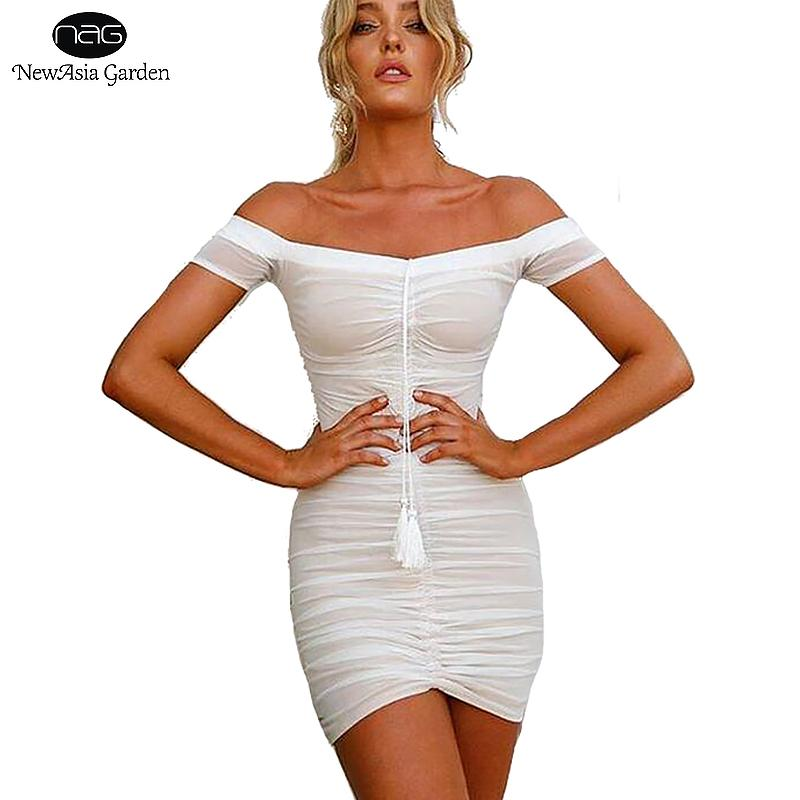 973abb774ca 2019 Wholesale Strapless Ruched Lift Up Drawstring Women Mesh Sheer Dresses Off  Shoulder Party Bodycon Dress Sexy Mini Club Dress New Vestidos From ...