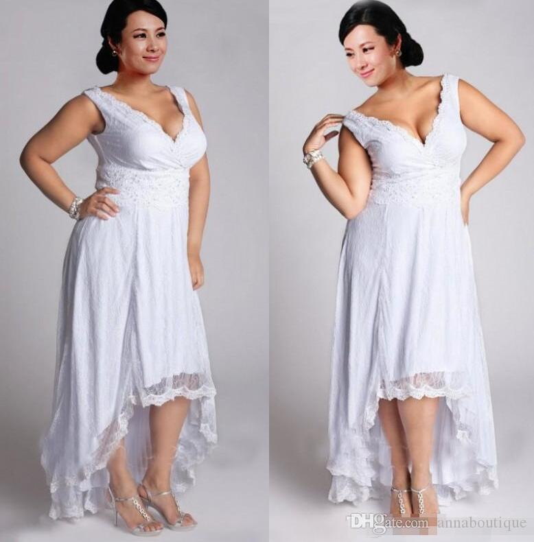Discount Stunning Plus Size High Low Country Short Wedding Dresses