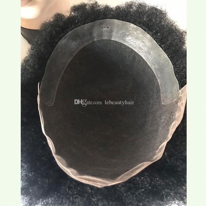 Toupee degli uomini crespi classici rivestiti poli del monofilamento dei capelli umani umani di Remy delle parrucche di capelli di Afra
