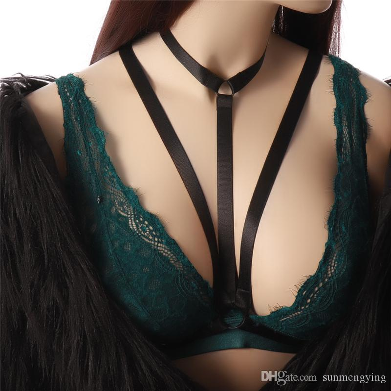 2018 New Fashion Lady nero semplice Sexy Hanging Neck HarnessHarajuku stile gotico morbido taglia regolabile Party Club Bar Costume da ballo di carnevale