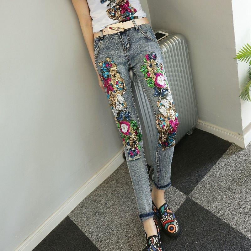Acheter VUW Marque 2018 Femmes Pantalon En Denim De Mode Paillettes  Conception Skinny Jeans Femme Vintage Stretch Crayon Pantalon Lady Mince  Pantalon De ... f7e0a25ea4fd