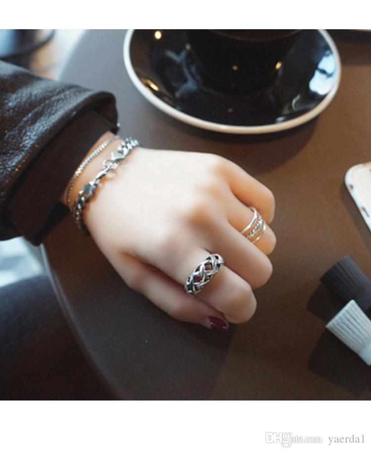 Korean S925 sterling silver simple line opening twill three-line retro silver ring gold chain necklace jewelry silicone bracelets