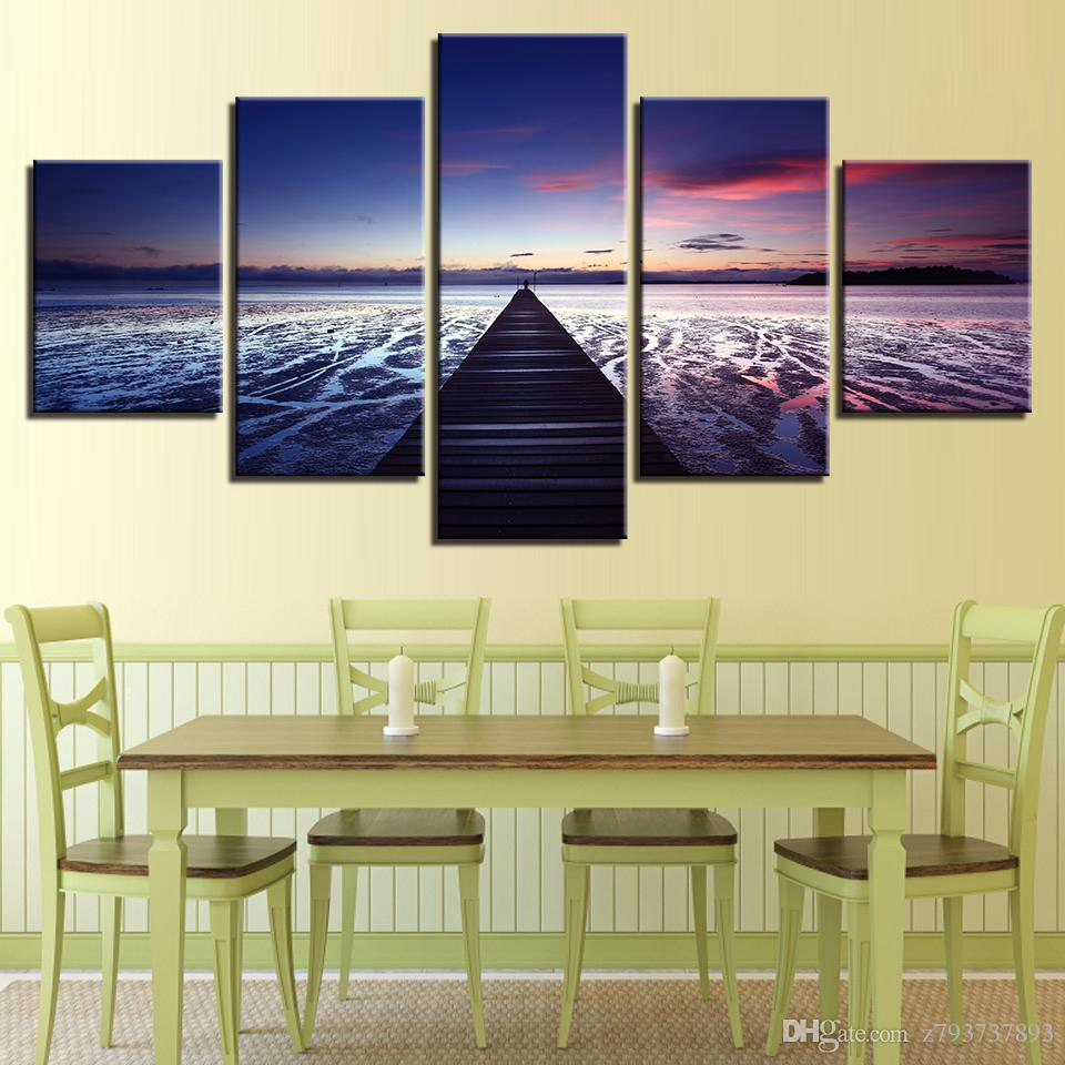 2018 Modern Hd Print Wall Art Frame Sunset Glow Wooden Bridge Sea ...