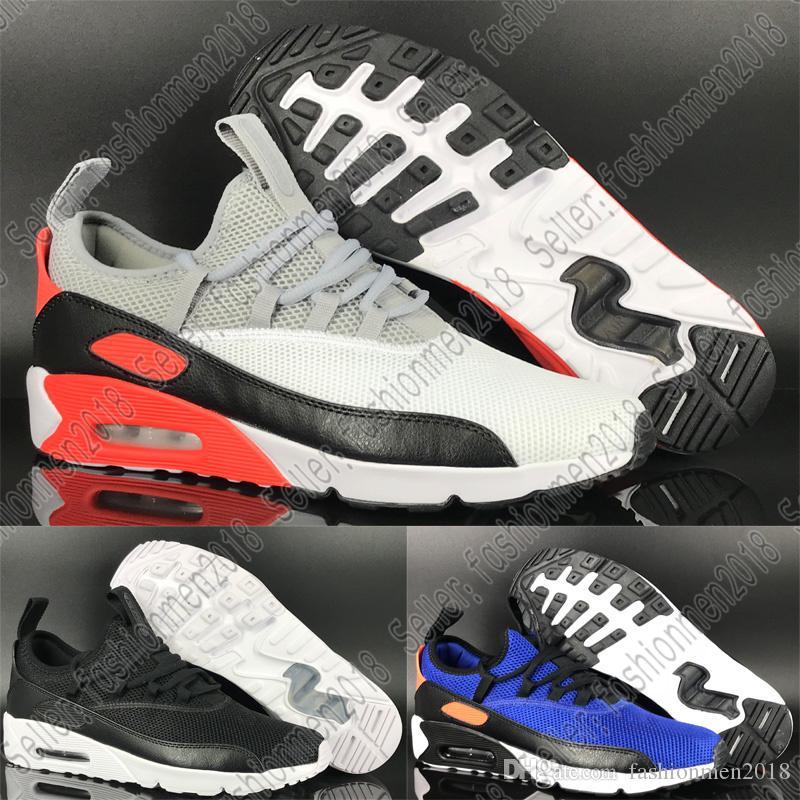 superior quality de67e 26c68 ... Nike Air Max AirMax 90 EZ A Pedal Mesh Zapatos Transpirables De Los Hombres  Zapatos Cómodos Para Correr De Alta Calidad Azul Profundo Gris Blanco Negro  ...