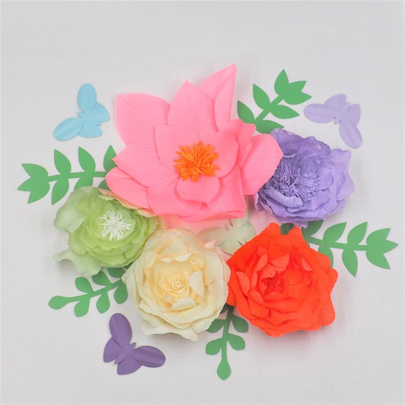 Giant Crepe Paper Flowers Backdrop Flowerwall Wall Decor Wedding Arch Handcrafted Flowers Artificial Flowers Wall Hanging Decorations Home