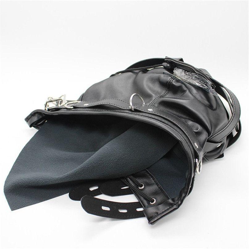Faux Leather Full Gimp Hoodmask Padded Locking Blindfold Open Mouth Gag Penis Mouth Bite Restraint BDSM Headgear Bondage Sex Toys