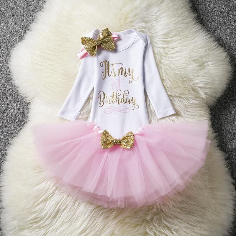 2019 Trendy Gold Newborn Baby Girl Clothes 1st Birthday Outfit Bebes Baptism Toddler Infant Clothing Sets Gift Bebek Giyim From Wonderfulss