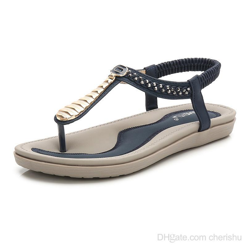 2bbd1a8a5 2018 Summer Hot New Women Sandals High Quality Womens Shoes Beach Designer  Flip Flops On Wholesale Wedge Sneakers Sandal From Cherishu