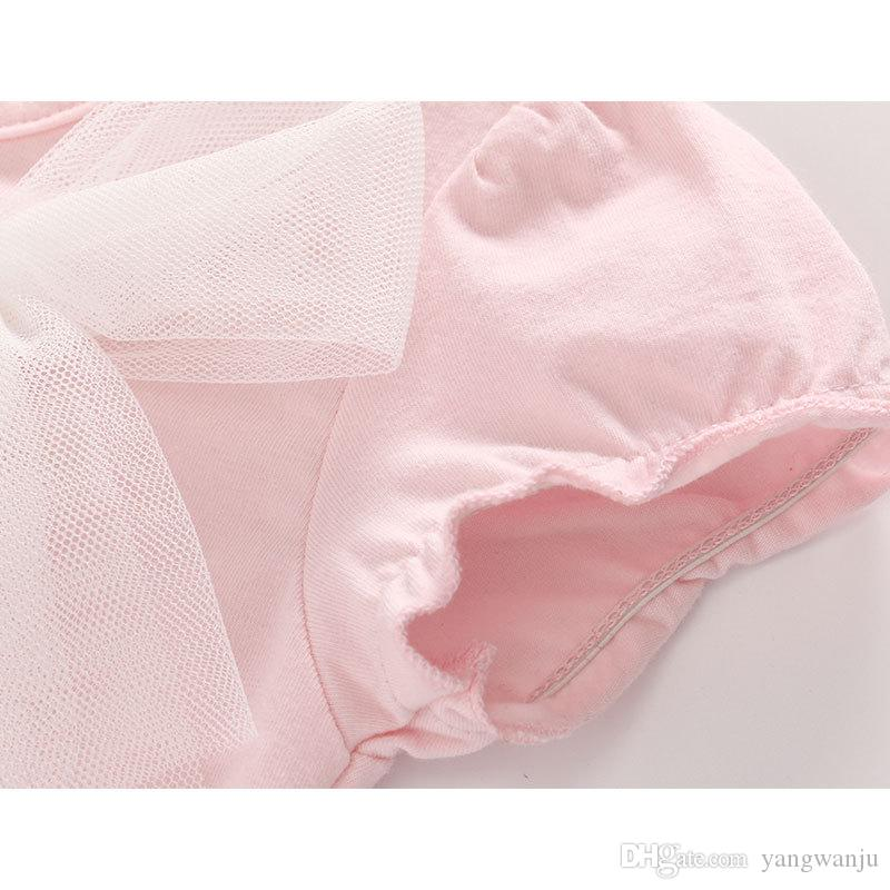 2018 Fashion Baby Bodysuits Newborn Baby Girl Summer 100% Cotton Bow Tutu Skirt Bodysuit Children Pink Clothes Infant Clothing