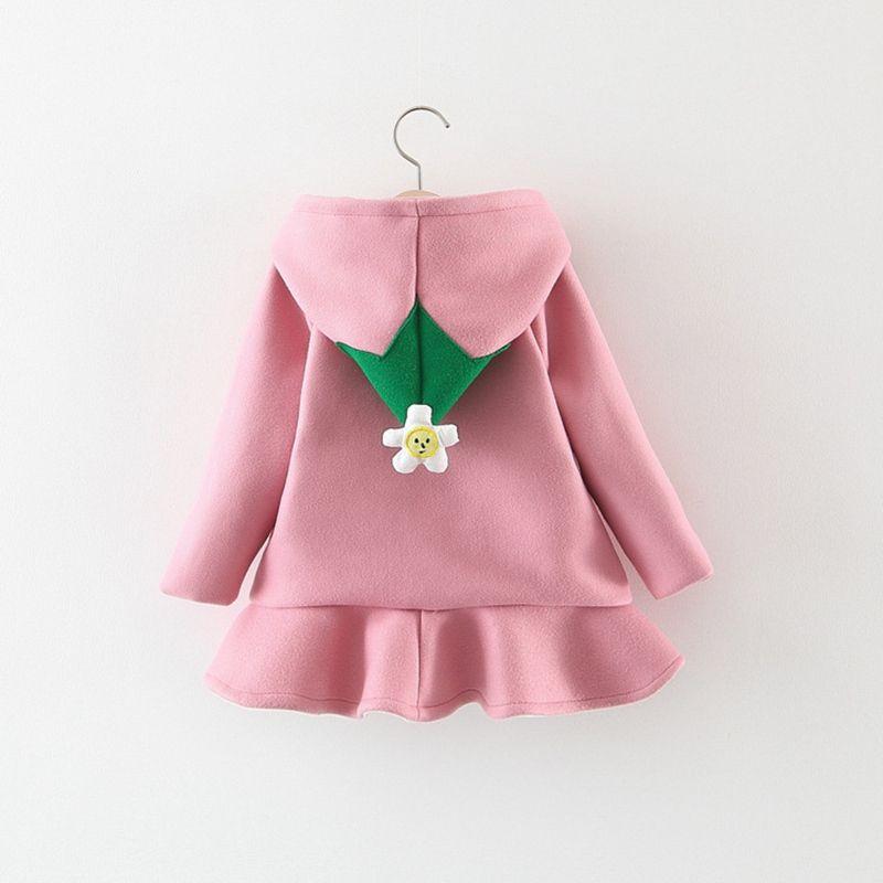 ebdfec013b3 Children Autumn Warm Winter Baby Girls Infants Kids Flower Hooded Velvet  Ruffles Princess Cardigan Coat Outwear Casaco S7745 Childrens Puffer Jackets  Kids ...