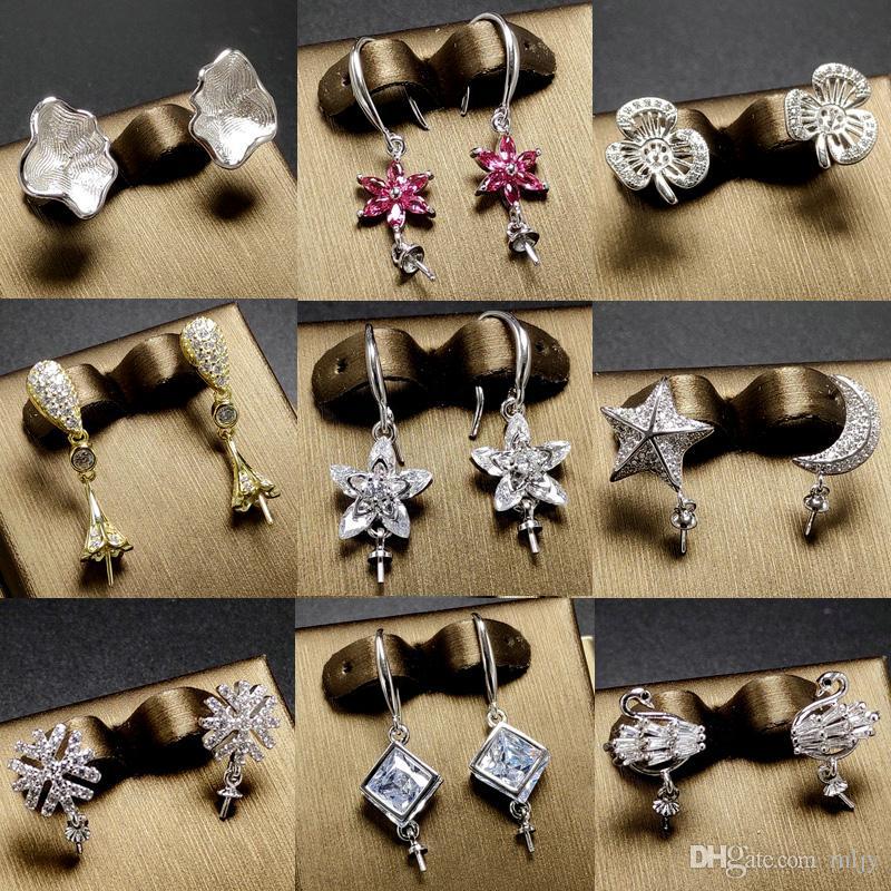 d94f67bdb775 Großhandel Glänzende Perle Ohrringe Einstellungen Zirkon Solide 925 Silber  Ohrstecker Für Frauen Mode Perle Ohrring Montage Ohrringe Blank Diy Schmuck  ...