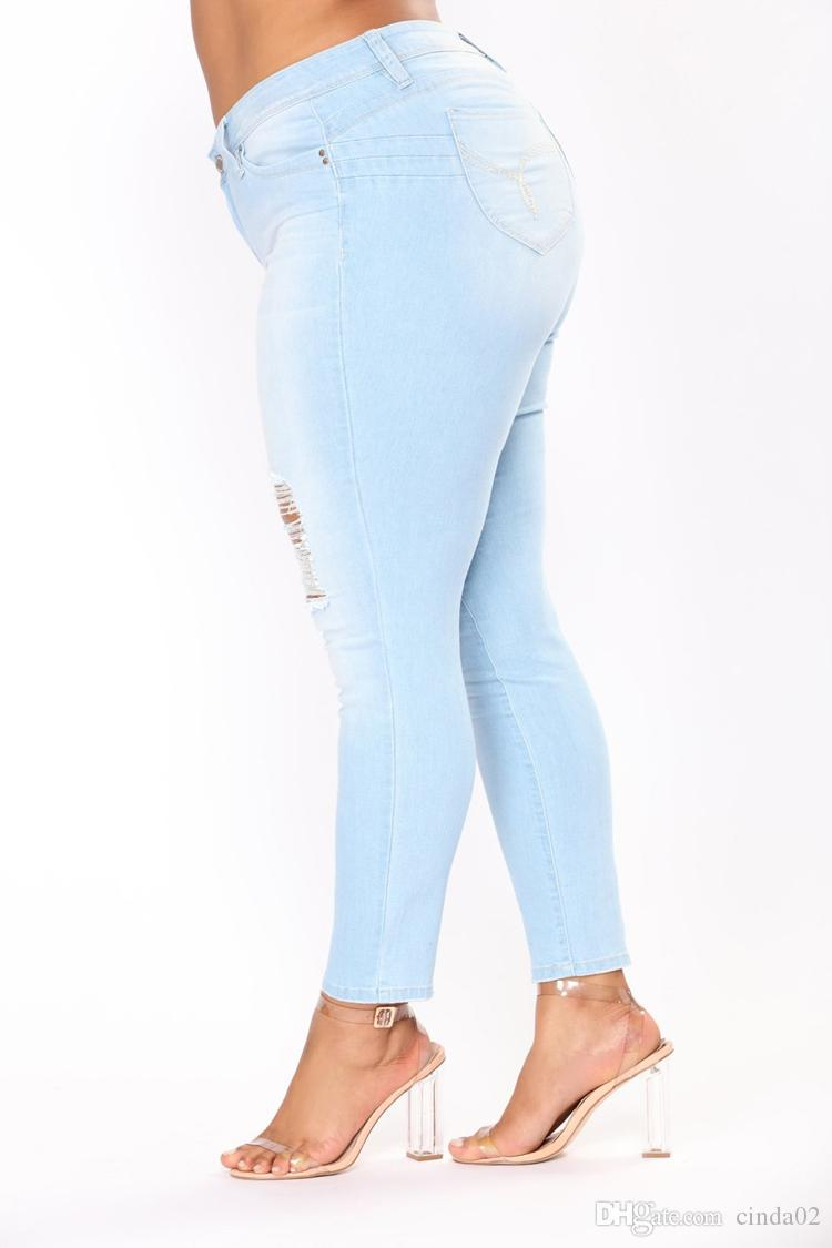 Buraco rasgado calças de brim das mulheres calças jeans legal jeans lápis vintage para a menina meados de cintura calças casuais calças de brim magras do sexo feminino plus size 2XL-7XL