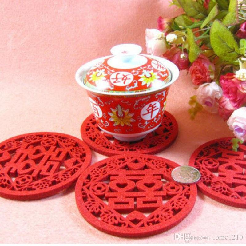 6442f6739 2019 Red Traditional Chinese Style Double Happiness Coasters Non Woven  Fabric Wedding Table Decoratioon Party Favor Gift From Lome1210, $0.42    DHgate.Com