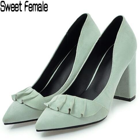 a3bebbb5 Compre Dulce Mujer 6108 Sexy 8.5 Cm Mujeres Bombas Marca Tacones Altos  Zapatos De Fiesta De Boda Señora Suede Primavera Verano Ruffles Zapatos De  Gran ...