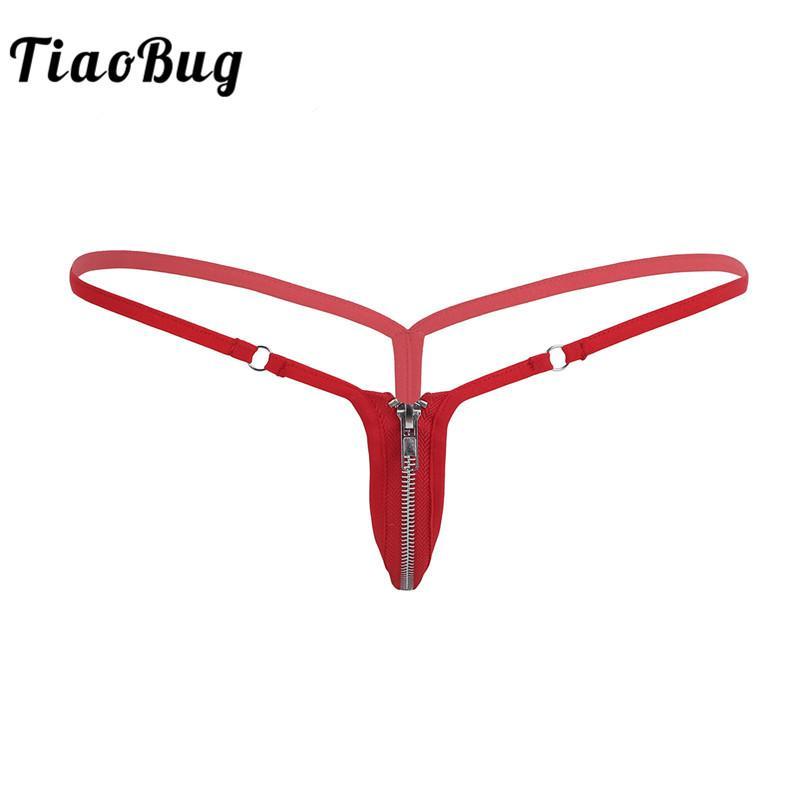 762fde9ac Compre TiaoBug Sexy Mulheres Correias G Corda Lingerie Stretchy Nylon G  String Bikini Underwear Bunda Aberta Zíper Frontal Calcinha De Cintura  Baixa De ...