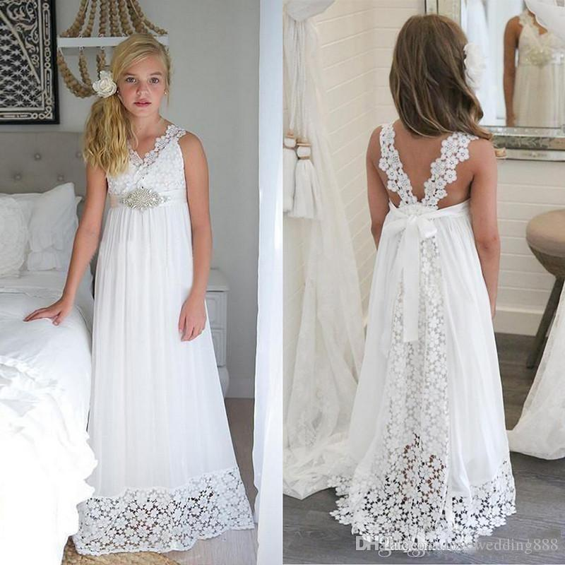 2018 Simple White Chiffon Lace Flower Girls Dresses Holy First