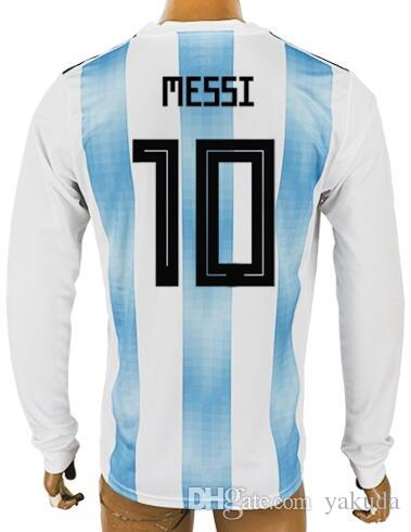 a91dd0ed5f3 2019 18 19 Thai Quality Customized Home Long Sleeves Soccer Jerseys Shirts, Custom 10 Messi 21 Dybala 11 Di Maria 9 Icardi 7 Benedetto Soccer Wear From  ...