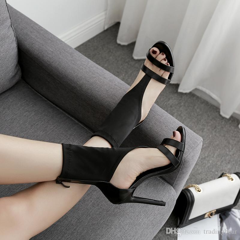 Chic black elastic cloth open toe ankle bootie women designer high heel dress shoes size 35 to 40