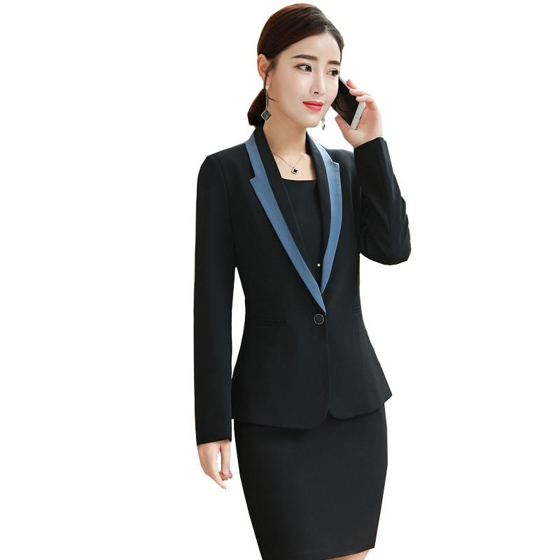 5589830fd81 2019 Womens Blazer + Dress Korean Business Clothes Sets 2018 Autumn New  Office Ladies Fashion Formal Casual OL Spring Interview Suit From Beltloop