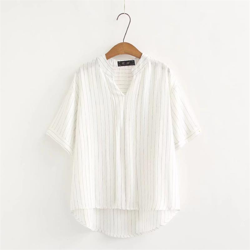 60edff7b71 Plus size short sleeve mandarin collar blouses women 2018 white striped  shirt casual summer cotton ladies tops 4XL