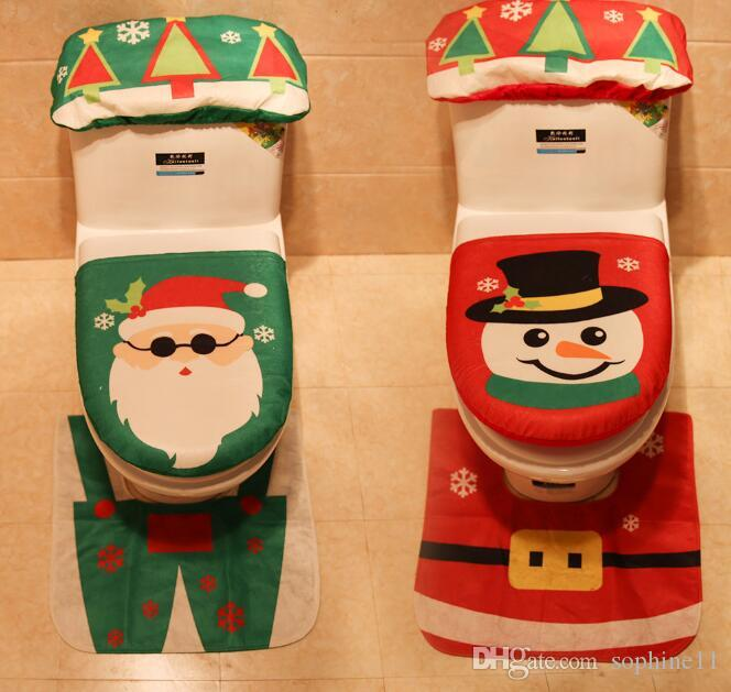 Fantastic Christmas Toilet Seat Cover Set Toilet Foot Pad Seat Cover Cap Happy Santa Toilet Seat Cover And Rug Bathroom Accessory Customarchery Wood Chair Design Ideas Customarcherynet