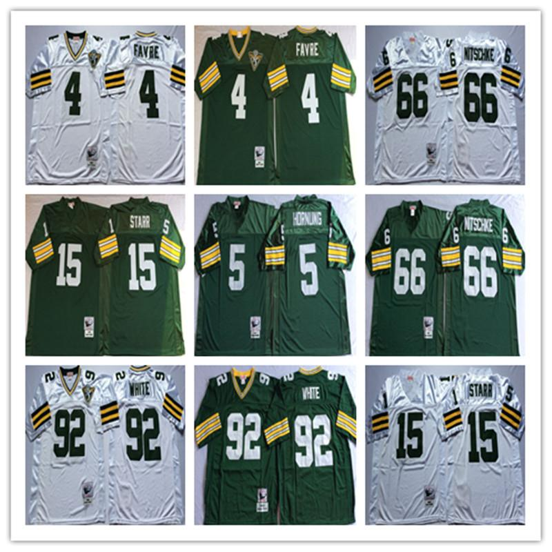 timeless design ed94c 4d026 Throwbacked Green Bay Packers Jerseys 4 Brett Favre 5 Paul Hornung 15 Bart  Starr 66 Ray Nitschke 92 Reggie White Men Jersey