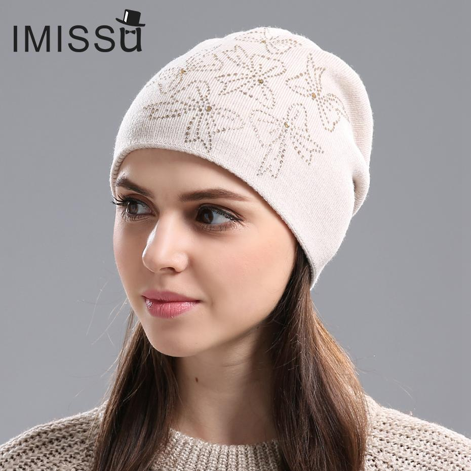 IMISSU Women s Winter Hats Knitted Real Wool Beanie Casual Hat With Crystal  Bow Solid Colors Ski Gorros Cap Casquette For Women Baby Hat Crochet Baby  Hats ... bb7b42b1f