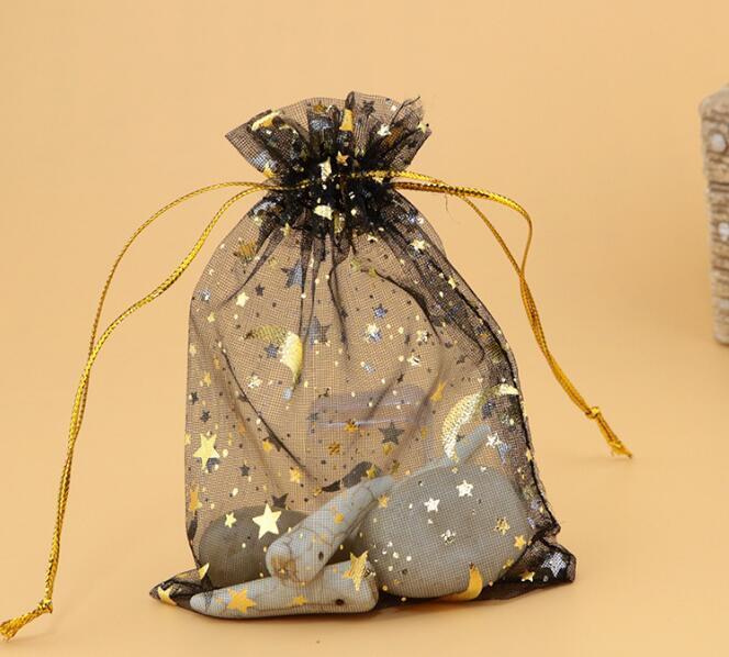 bronzing yarn bags Gift Jewelry bags Stars Moon Earrings Bracelet storage bag Colourful gauze bags 9 * 12CM
