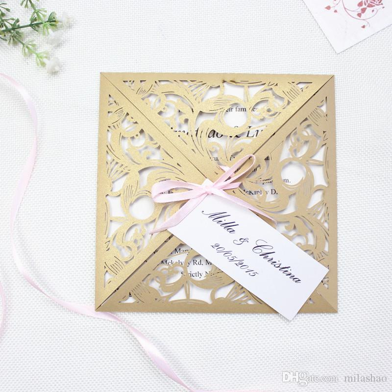 2018 Gold Laser Cut Gold Wedding Invitations With Tags, Hollow ...