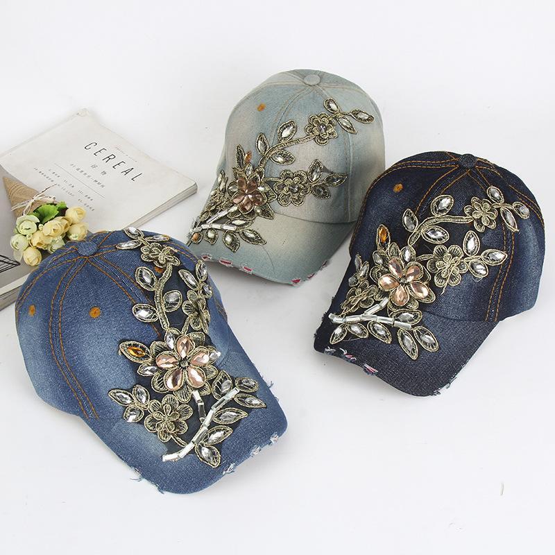 21b3b4fc83884 01806 YICHEN63 Denim Fabric Flower Embroidery Leisure Cap Men Women  Baseball Hat Wholesale Hatland Brixton Hats From Heathere
