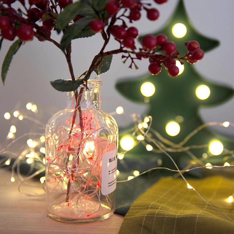 Copper Wire 2M 20 LEDS 3XAA Battery LED String Lights For Xmas Garland  Party Wedding Decoration Christmas Tree Flasher Fairy Lights Christmas  String Lights ... - Copper Wire 2M 20 LEDS 3XAA Battery LED String Lights For Xmas