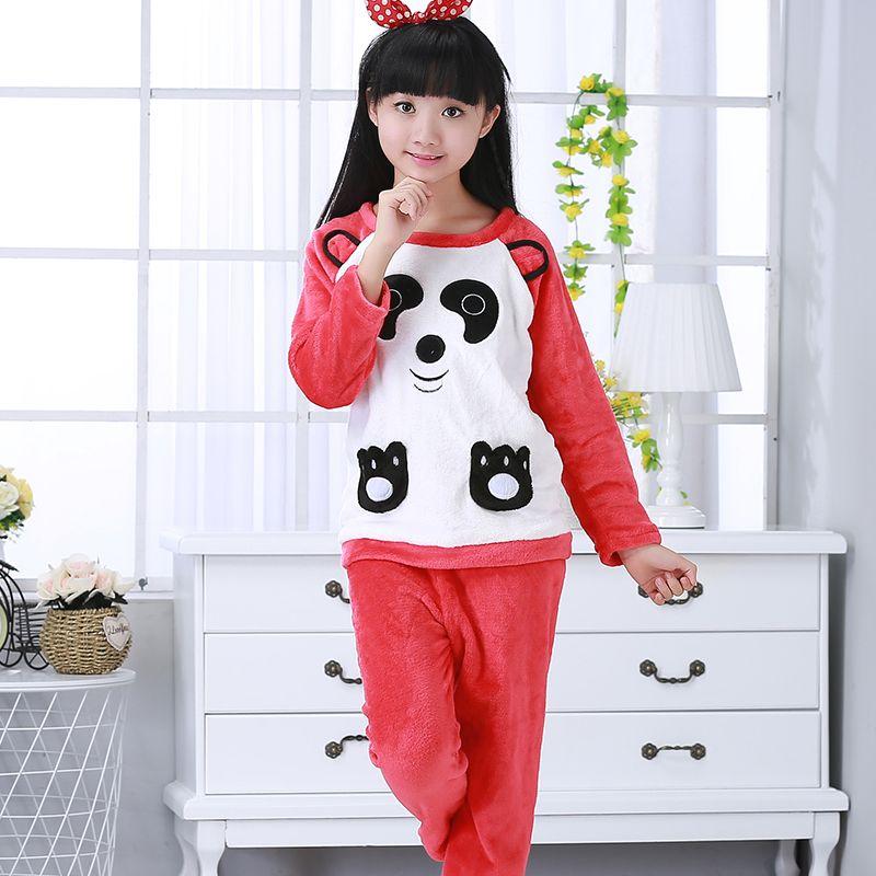 48a9df5bd 2019 Winter Children Fleece Pajamas Warm Flannel Sleepwear Girls ...