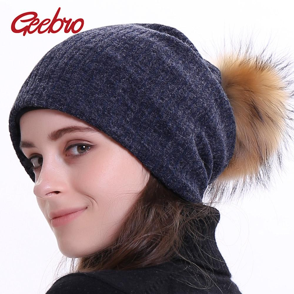 e2295421f2b Geebro Women S Ribbed Beanie Hat With Pompom Winter Plain Soft Warm Slouchy  Beanies With Raccoon Fur Pompom Girls Balavaca Hat Women Hats Cool Beanies  From ...