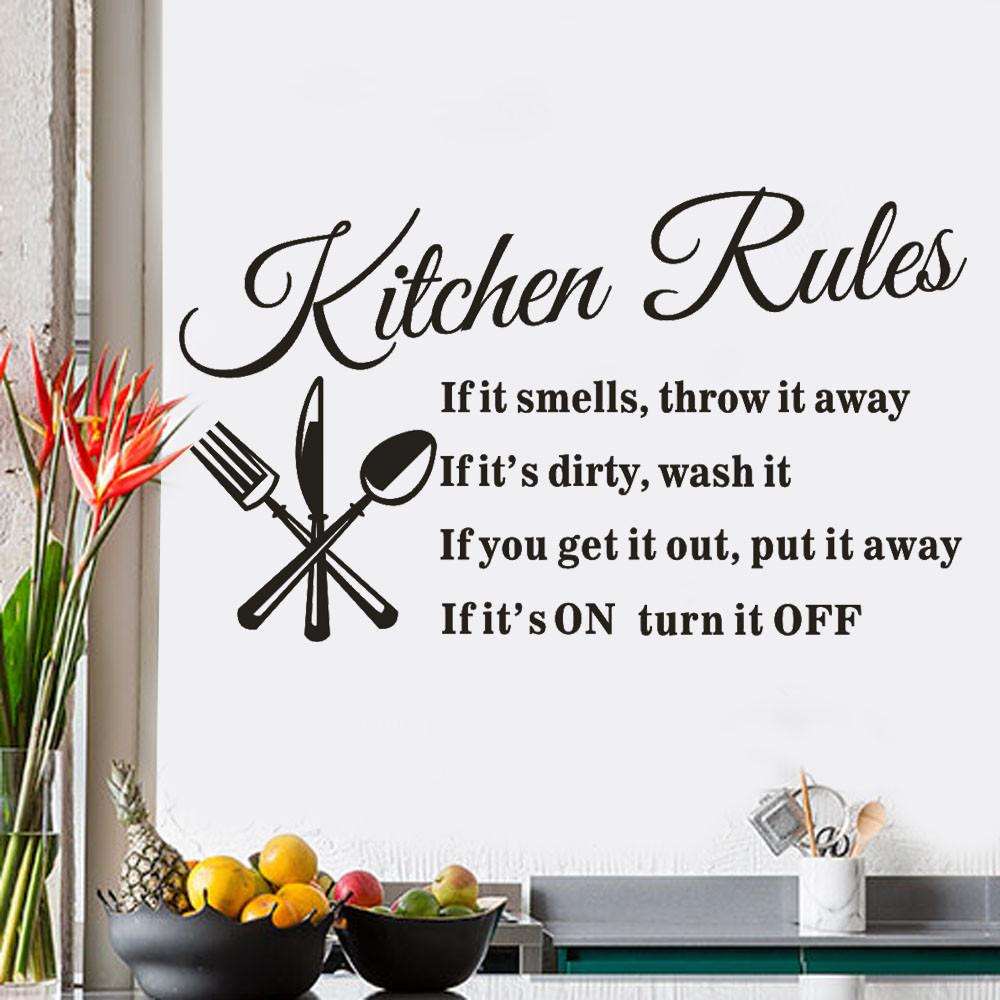 Kitchen Rules Restaurant PVC Wall Sticker for Living room Kitchen room home decoration