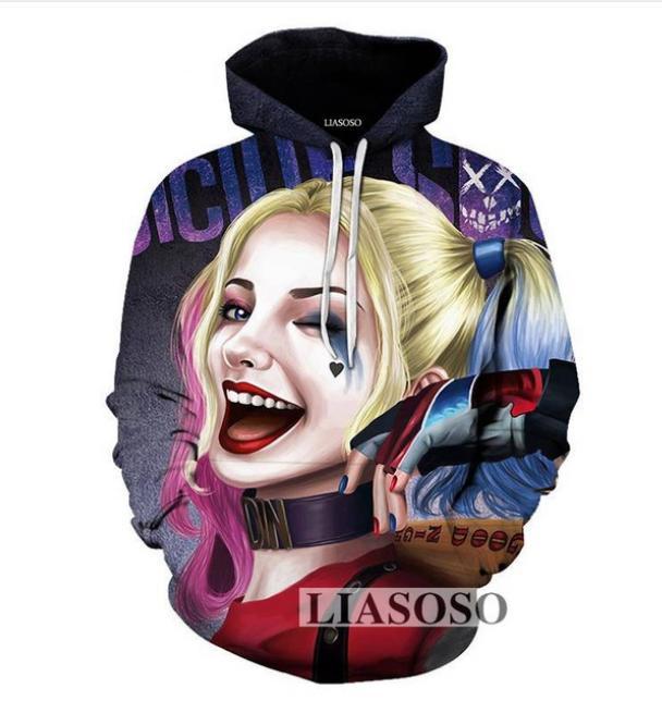64cc39a40e0e 2019 Anime Suicide Squad Joker Harley Quinn Print 3D Hoodies Men  Women Sweatshirt  Hooded Pullover Hip Hop Tracksuits UK017 From Fjb272211689