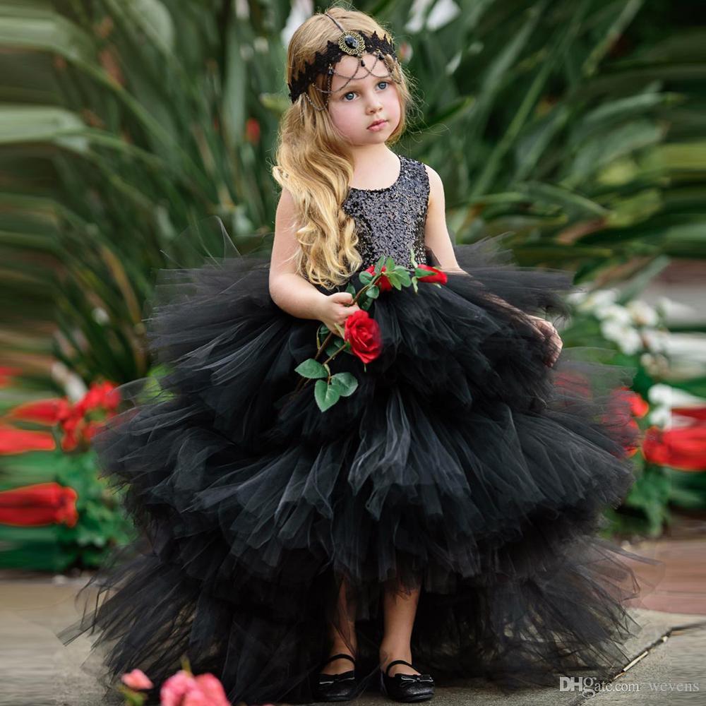 088cde2d5 Compre Moda Negro Alto Bajo Niñas Vestidos Del Desfile Cuello Joya Ojo De  La Cerradura De Tul Niñas Bebé Vestido Para La Boda Con Gradas Niño Ropa  Formal A ...