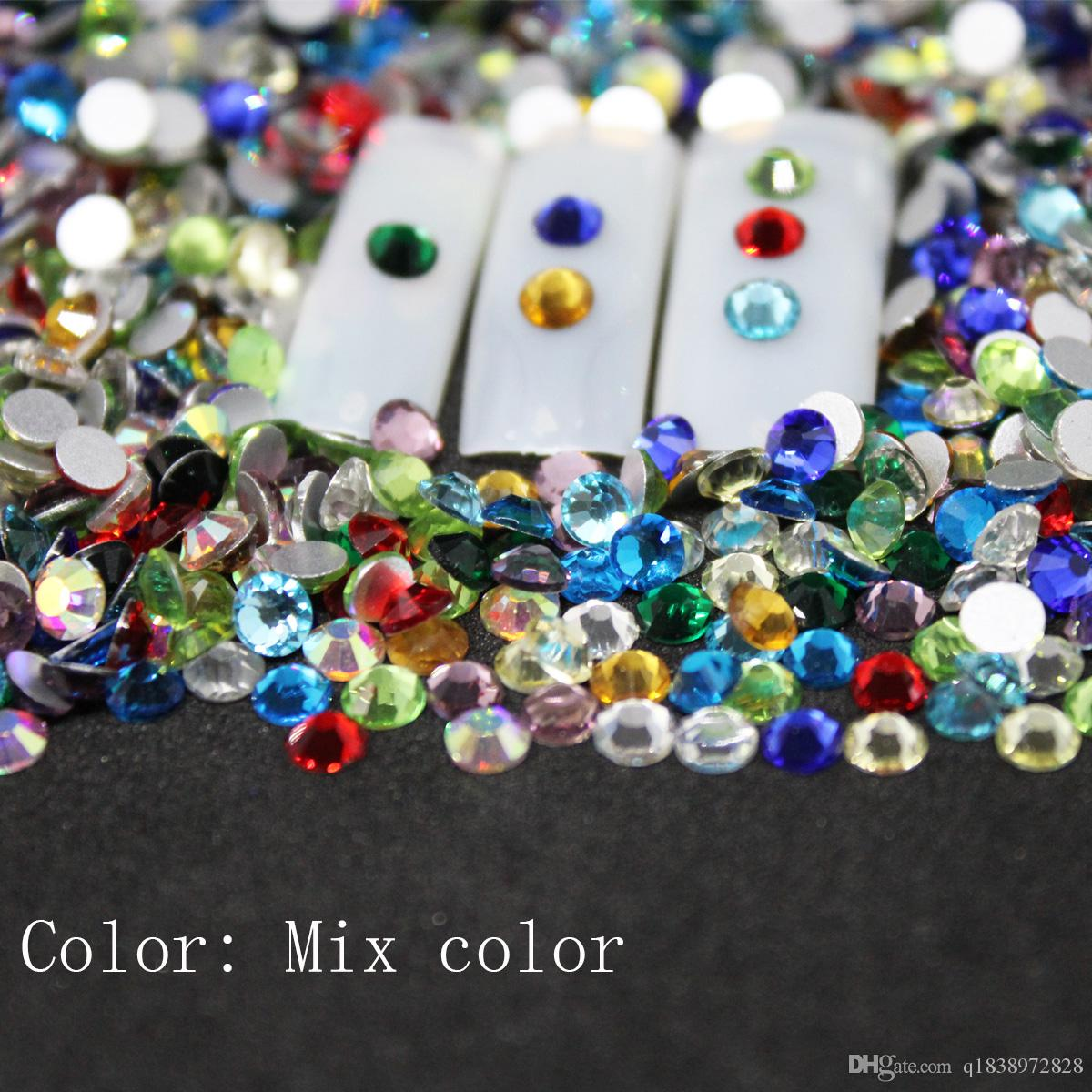 SS3 SS30 Mix Color Rhinestones Back Flat Round Nail Art Decorations And Stones  Non Hotfix Rhinestones Crystals For DIY Glass Fake Nails Nail Design Ideas  ... 4d3305640e5b