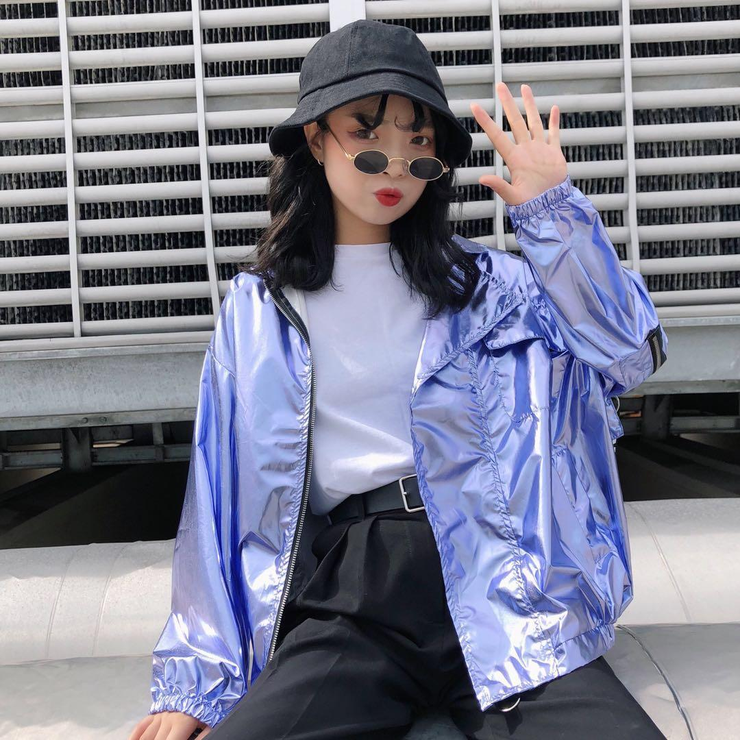 f033367c2588 Harajuku Laser Thin Zipper Coat Sunscreen Loose Bomber Silver Jacket  Cardigan Couples Letters Straps Tops 2018 Summer Hooded Jacket Tweed Jackets  From ...
