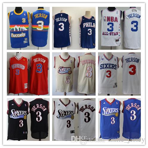 01d6ad7d8 Retro Mens 3 Allen Iverson Philadelphia 76ers Basketball Jerseys ...