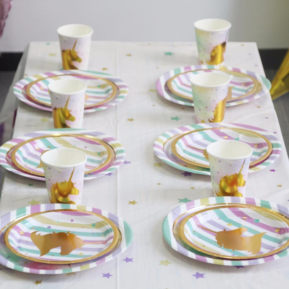 1pcs Unicorn Party Tableware Kit Gold Magical