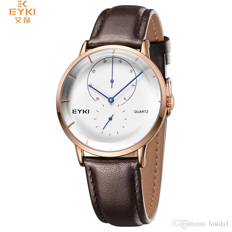 822e39faf19 Compre Moda 2018 Mens Relógio De Pulso EYKI Vestido De Luxo Data De Quartzo  Relógios Três Mostradores Trabalhando Relógio Relógio Relógios Banda De  Couro ...