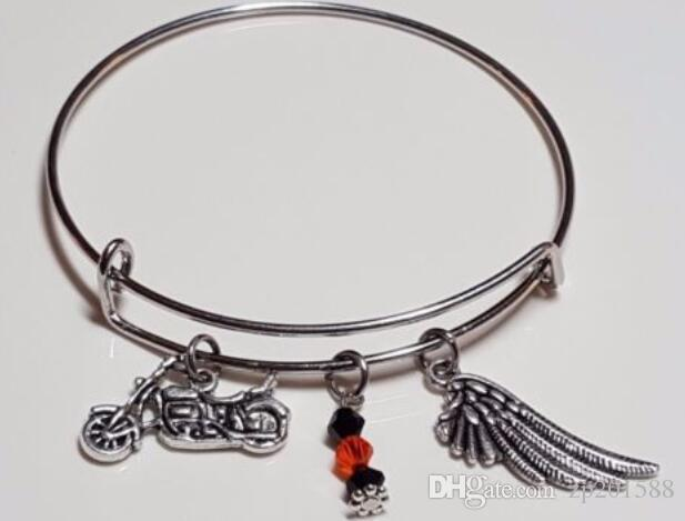 Vintage Silver Motorcycle &Angel Wing Crystal Beads Charms Expandable Wire Bracelet Wedding Cuff Bangles For Women Jewelry Accessories NEW